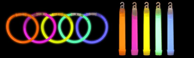 Pulseras y barritas luminosas