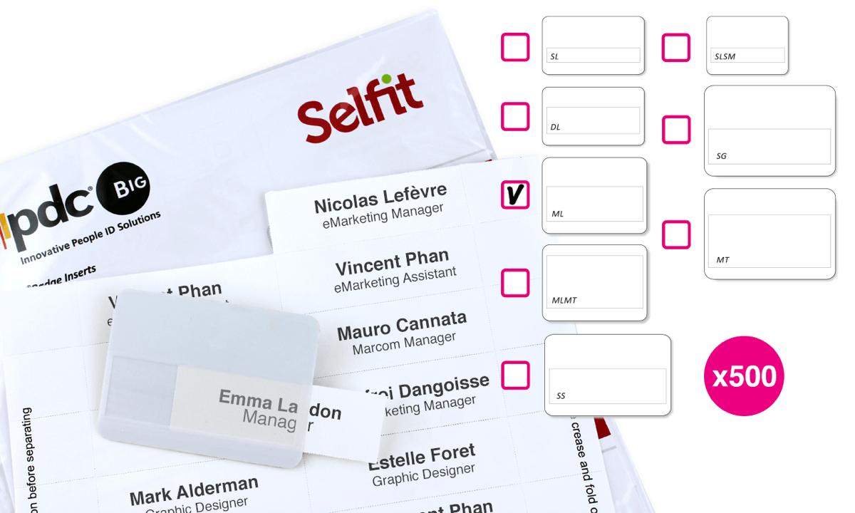 Plantillas Selfit® MultiLine, 75 x 24 mm, Blanco, 500 unidades