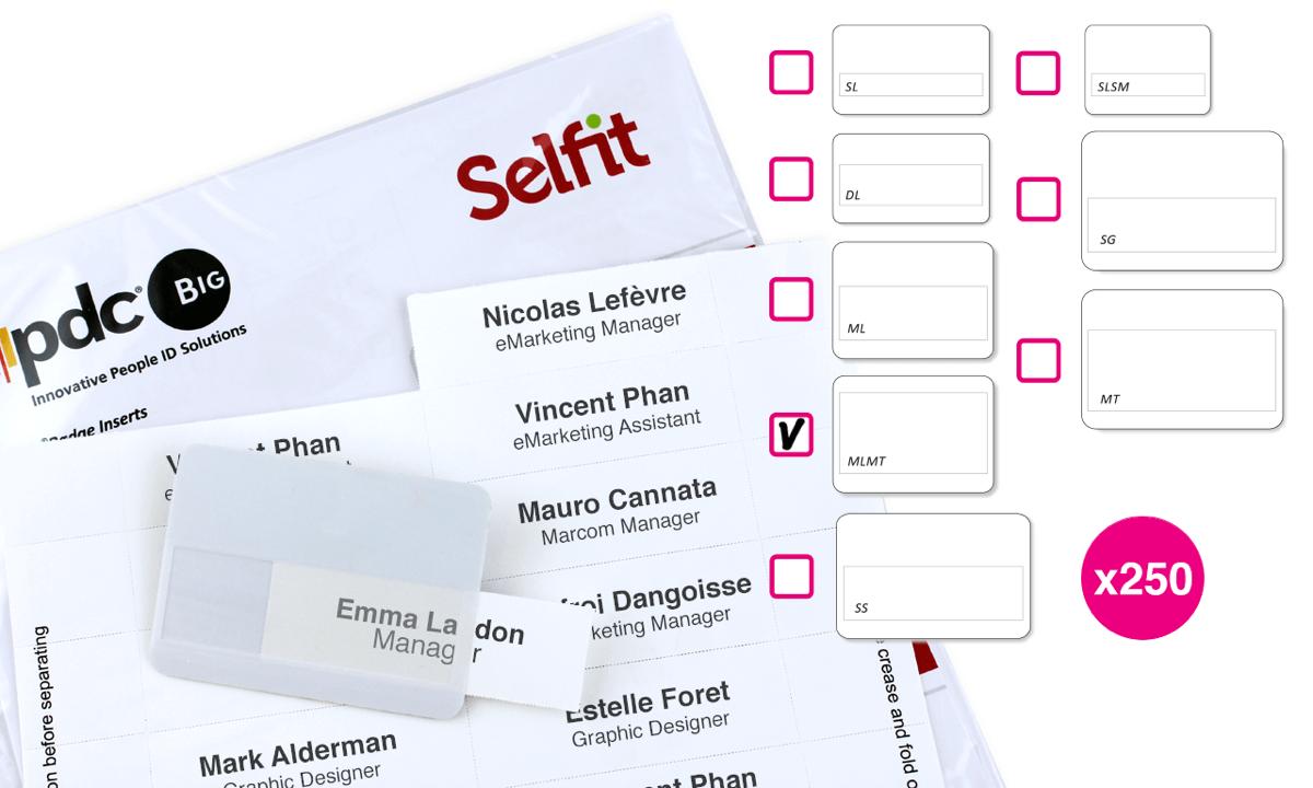 Plantillas Selfit® Multimega, 75 x 36 mm, Blanco, 250 unidades