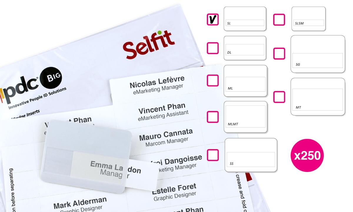Plantillas Selfit® SingleLine, 70 x 12 mm, Blanco, 250 unidades