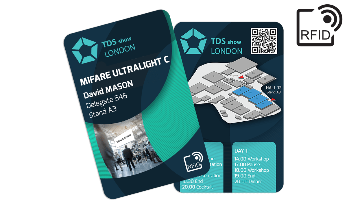 Tarjetas RFID 133 x 85 mm personalizadas - Mifare UltraLight C