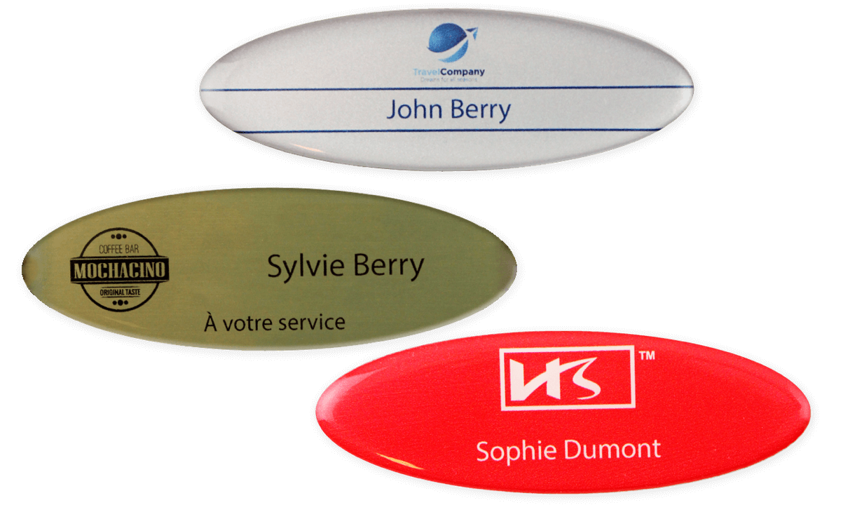 Identificadores Impress Premium, 75 x 32 mm - Oval
