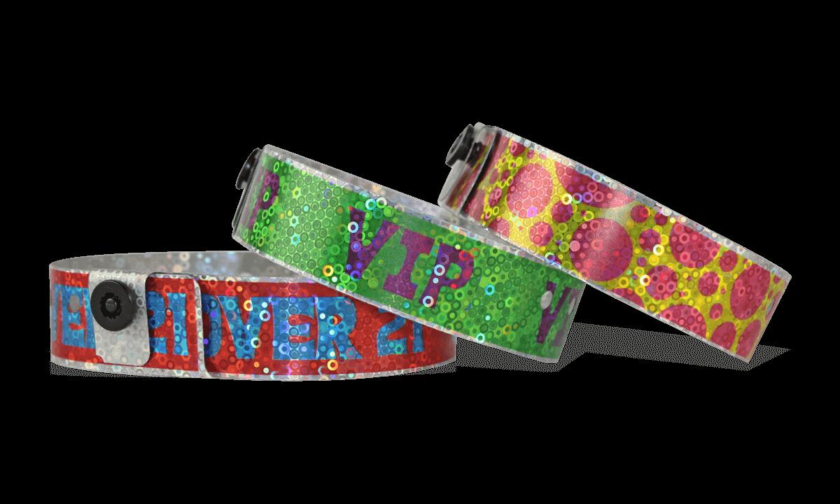 """Pulseras holográficas 19 mm """"Liquid Glitter"""" con una impresión digital de calidad fotográfica"""