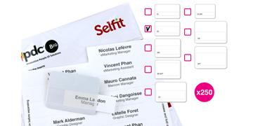 Plantillas Selfit® DoubleLine, 70 x 18 mm, Blanco, 250 unidades