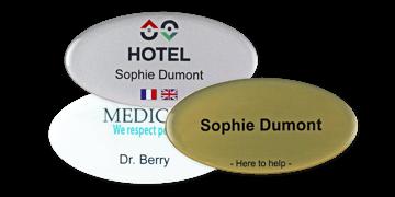 Identificadores Impress Premium, 75 x 38 mm - Oval