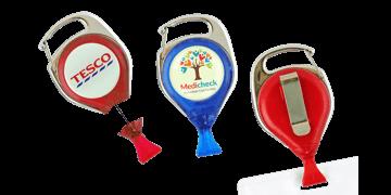 Broche yoyó (estilo mosquetón) anti-torsión personalizable con pinza para tarjetas