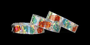 """Pulseras holográficas 19 mm """"Confetti"""" con una impresión digital de calidad fotográfica"""